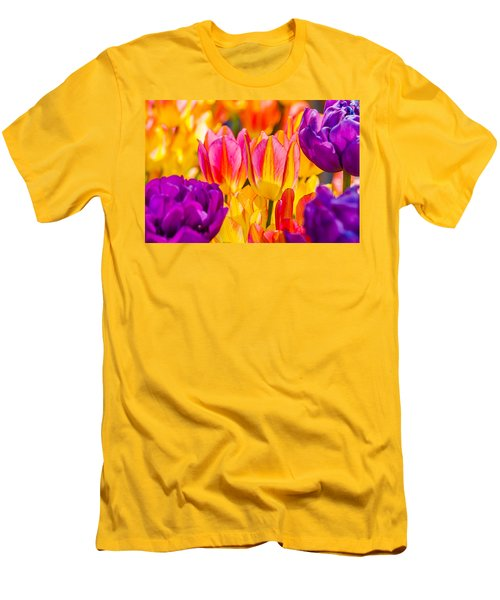 Men's T-Shirt (Slim Fit) featuring the photograph Tulips Enchanting 45 by Alexander Senin