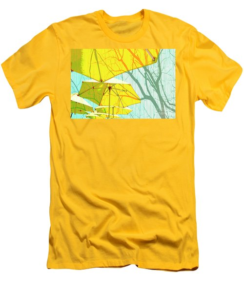 Umbrellas Yellow Men's T-Shirt (Slim Fit) by Deborah Nakano