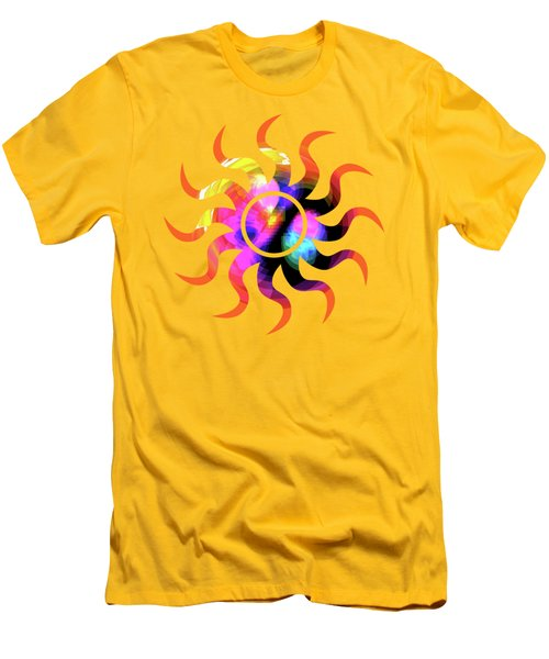 Vibrant Circle On Orange Men's T-Shirt (Slim Fit) by Judi Suni Hall