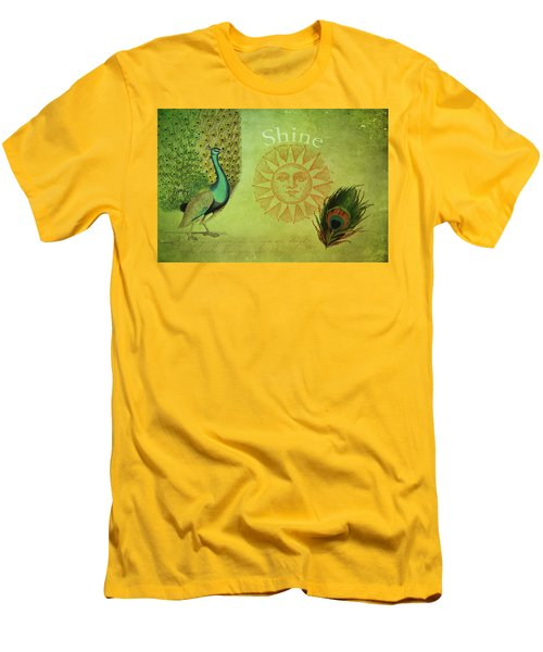 Men's T-Shirt (Slim Fit) featuring the digital art Vintage Peacock Art by Peggy Collins