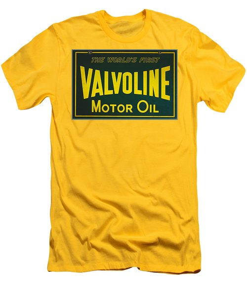 Vintage Valvoline Motor Oil Metal Sign Men's T-Shirt (Slim Fit) by Marvin Blaine