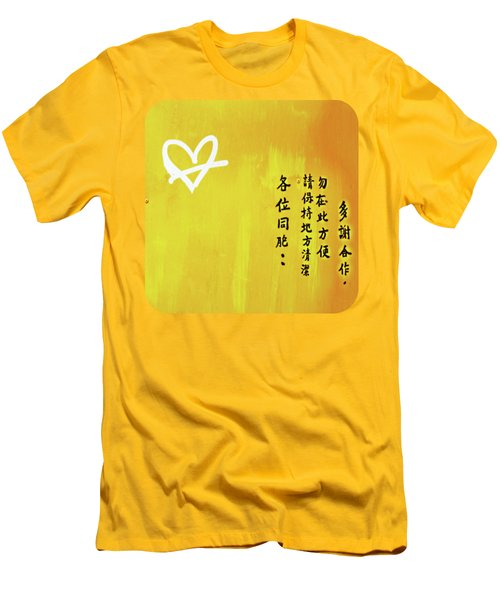 Men's T-Shirt (Slim Fit) featuring the photograph White Heart On Orange by Ethna Gillespie