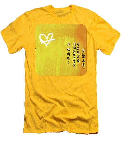 White Heart On Orange Men's T-Shirt (Athletic Fit)