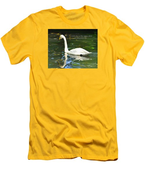Whooper Swan Gratitude Men's T-Shirt (Slim Fit) by Diane E Berry