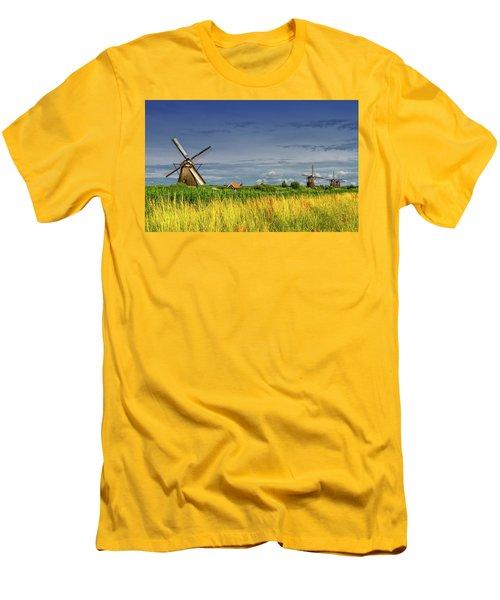 Windmills In Kinderdijk, Holland, Netherlands Men's T-Shirt (Slim Fit) by Elenarts - Elena Duvernay photo