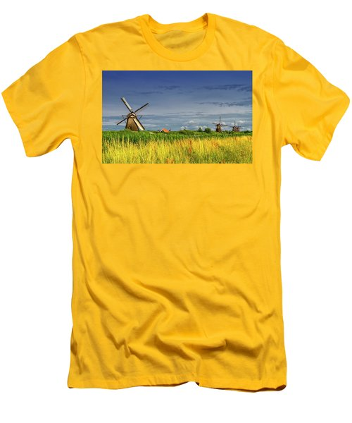 Windmills In Kinderdijk, Holland, Netherlands Men's T-Shirt (Athletic Fit)