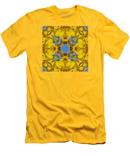 Yellow Coneflower Kaleidoscope Men's T-Shirt (Slim Fit) by Smilin Eyes  Treasures