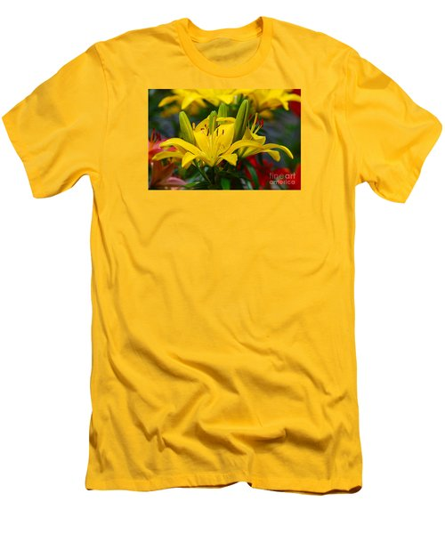 Yellow Day Lily 20120614_55a Men's T-Shirt (Slim Fit) by Tina Hopkins