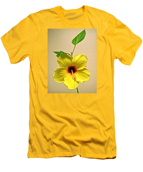 Yellow Hibiscus Men's T-Shirt (Slim Fit) by Stephanie Moore