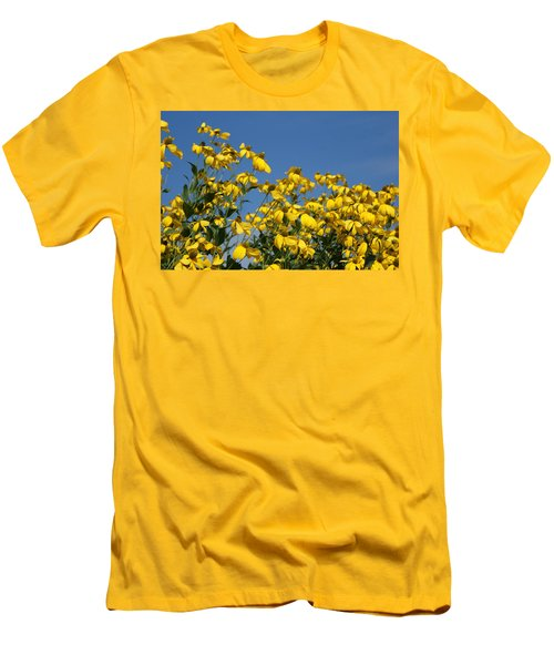 Yellow On Blue Men's T-Shirt (Slim Fit) by Lois Lepisto