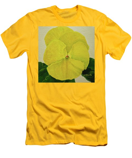 Men's T-Shirt (Slim Fit) featuring the painting Yellow Pansy by Wendy Shoults