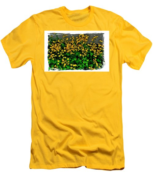 Yellow Wildflowers Men's T-Shirt (Slim Fit) by Marsha Heiken
