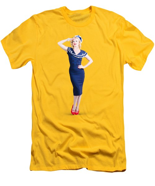 Young Retro Pinup Girl Wearing Sailor Uniform Men's T-Shirt (Slim Fit) by Jorgo Photography - Wall Art Gallery