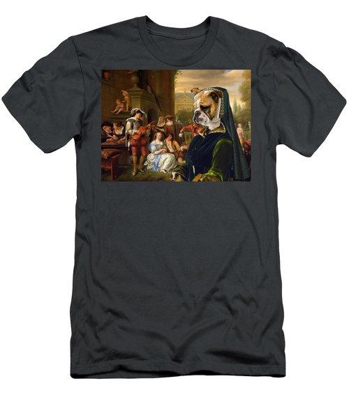 English Bulldog Art Canvas Print - The Garden Party Men's T-Shirt (Athletic Fit)