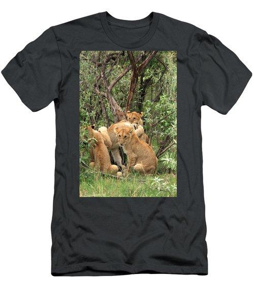 Men's T-Shirt (Athletic Fit) featuring the photograph  Masai Mara Lion Cubs by Aidan Moran
