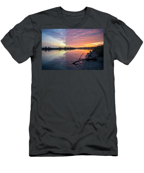 River Glows At Sunrise Men's T-Shirt (Slim Fit) by Leticia Latocki