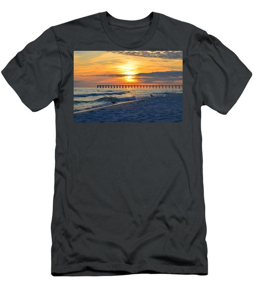0108 Sunset Colors Over Navarre Pier On Navarre Beach With Gulls Men's T-Shirt (Slim Fit) by Jeff at JSJ Photography