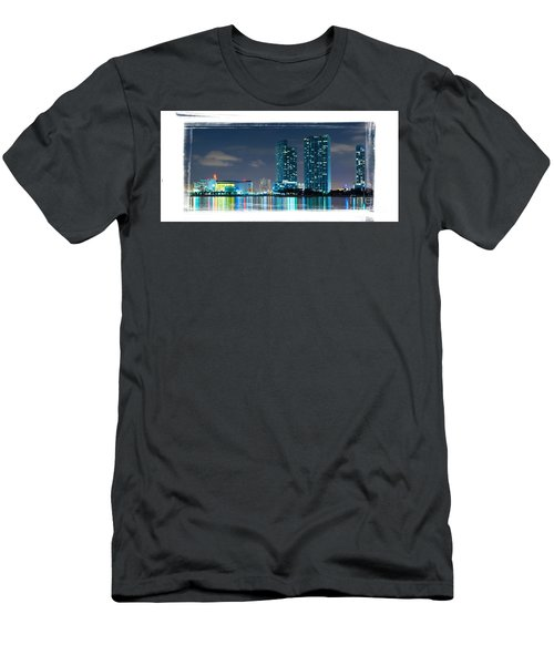 Men's T-Shirt (Slim Fit) featuring the photograph American Airlines Arena And Condominiums by Carsten Reisinger