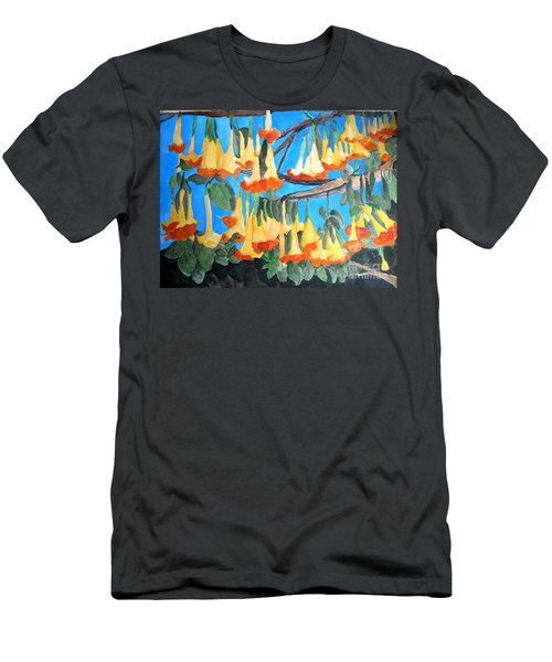Men's T-Shirt (Slim Fit) featuring the painting Angel Trumpets by Sandy McIntire