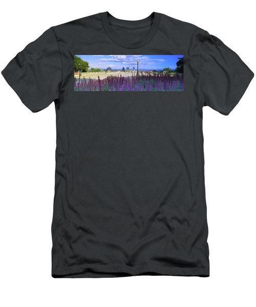 Blooming Flowers With City Skyline Men's T-Shirt (Athletic Fit)