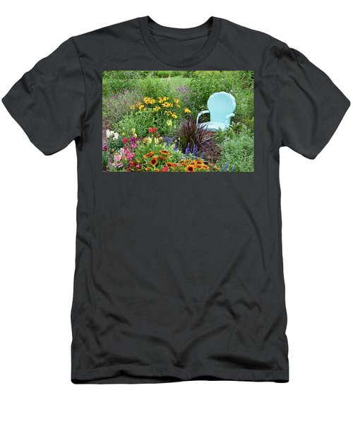 Blue Chair And Various Flowers Men's T-Shirt (Athletic Fit)