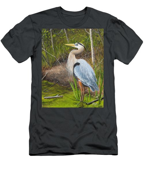 Men's T-Shirt (Athletic Fit) featuring the painting Blue Heron by Tammy Taylor