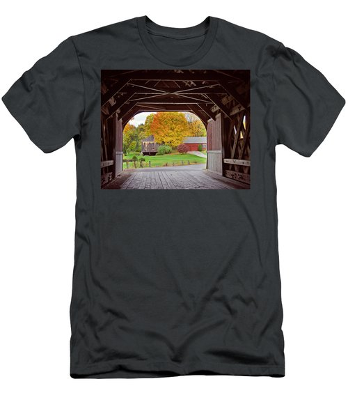 Covered Bridge In Autumn Men's T-Shirt (Athletic Fit)