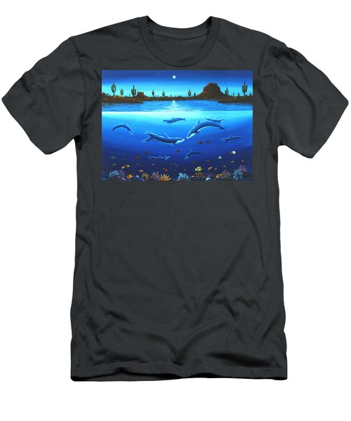 Men's T-Shirt (Slim Fit) featuring the painting Desert Dolphins by Lance Headlee