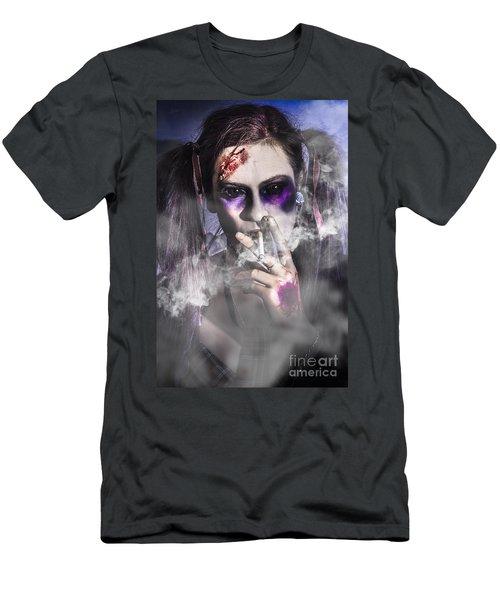 Evil Zombie Schoolgirl Smoking Cigarette Men's T-Shirt (Athletic Fit)