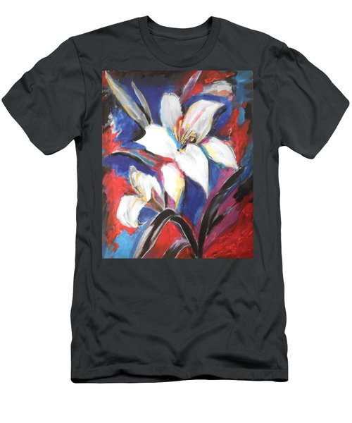 Men's T-Shirt (Slim Fit) featuring the painting Fair Pure Fragile White Lilies by Esther Newman-Cohen
