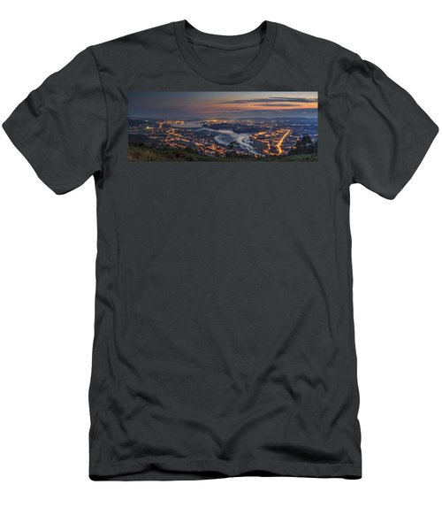 Ferrol's Ria Panorama From Mount Ancos Galicia Spain Men's T-Shirt (Athletic Fit)
