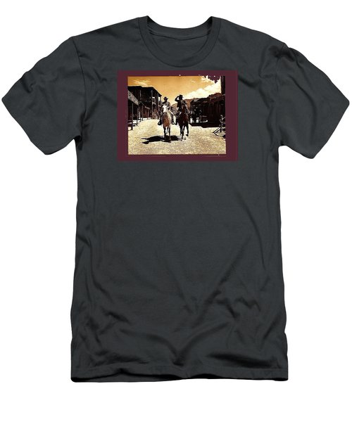 Film Homage Mark Slade Cameron Mitchell Riding Horses The High Chaparral Old Tucson Az C.1967-2013 Men's T-Shirt (Athletic Fit)