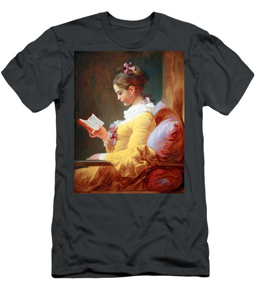 Men's T-Shirt (Slim Fit) featuring the photograph Fragonard's Young Girl Reading by Cora Wandel