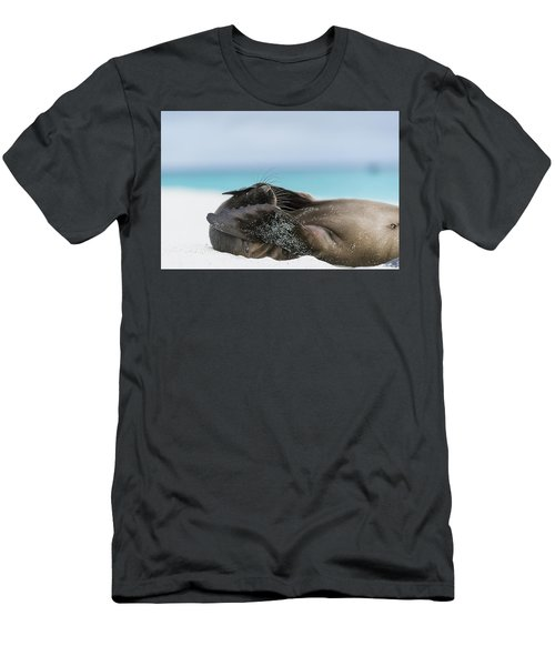 Galapagos Sea Lion Pup Covering Face Men's T-Shirt (Athletic Fit)