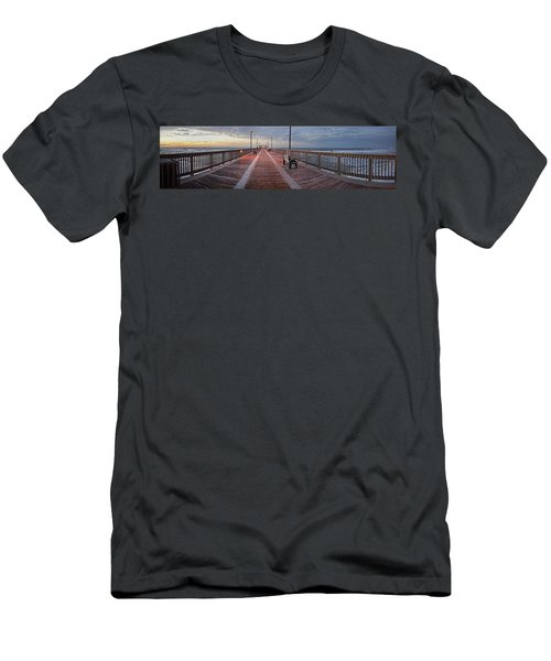 Men's T-Shirt (Slim Fit) featuring the digital art Gulf State Pier by Michael Thomas