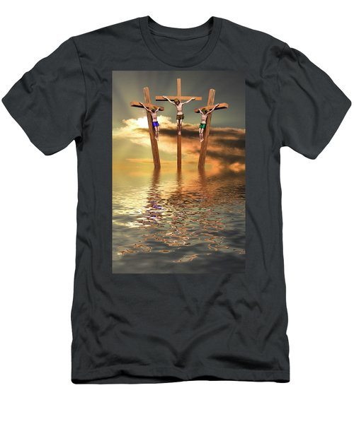 Jesus And Two Thieves On The Cross Men's T-Shirt (Athletic Fit)