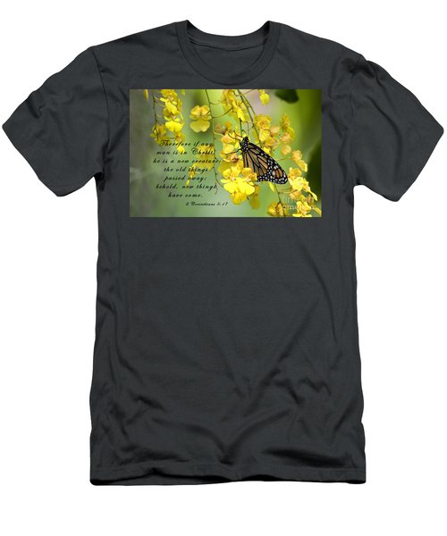 Monarch Butterfly With Scripture Men's T-Shirt (Athletic Fit)