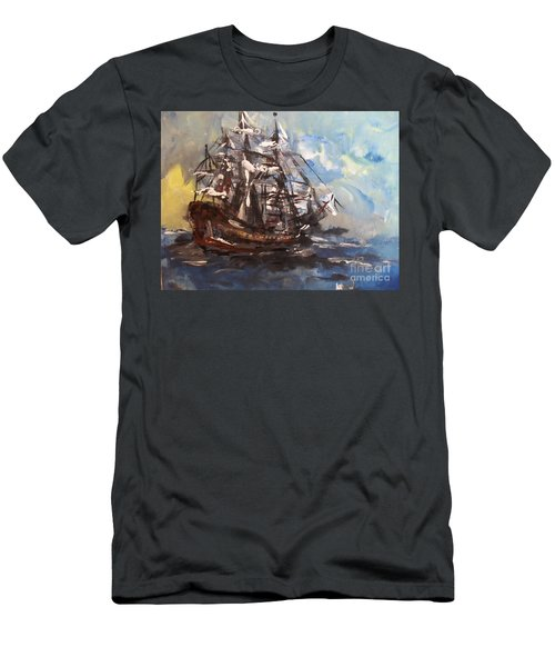 Men's T-Shirt (Athletic Fit) featuring the painting My Ship by Laurie Lundquist