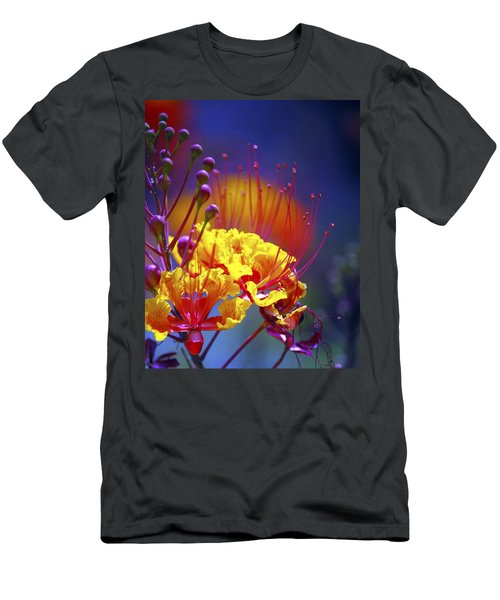 Red Yellow Blossoms 10197 Men's T-Shirt (Slim Fit) by Jerry Sodorff