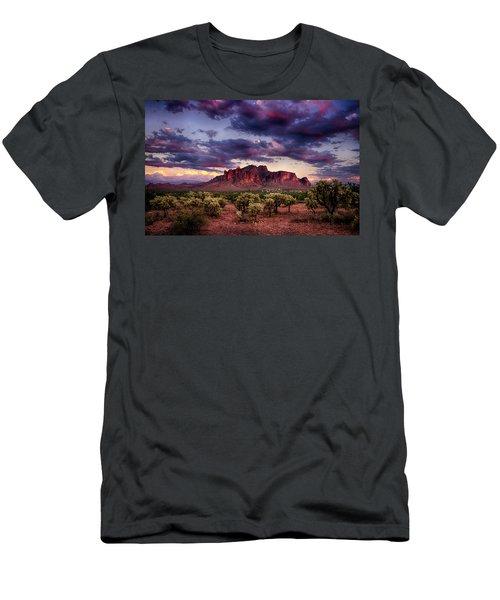 Sunset At The Superstitions  Men's T-Shirt (Slim Fit) by Saija  Lehtonen