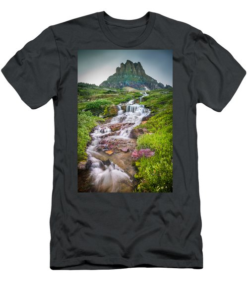 Triple Falls Stream Glacier National Park Men's T-Shirt (Athletic Fit)