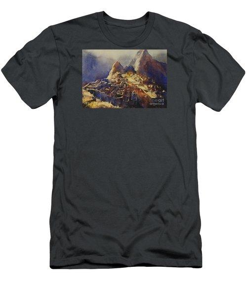 Watercolor Painting Machu Picchu Peru Men's T-Shirt (Slim Fit) by Ryan Fox