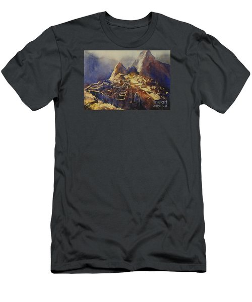 Watercolor Painting Machu Picchu Peru Men's T-Shirt (Athletic Fit)