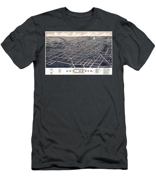 1880 Birds Eye Map Of Ann Arbor Men's T-Shirt (Athletic Fit)