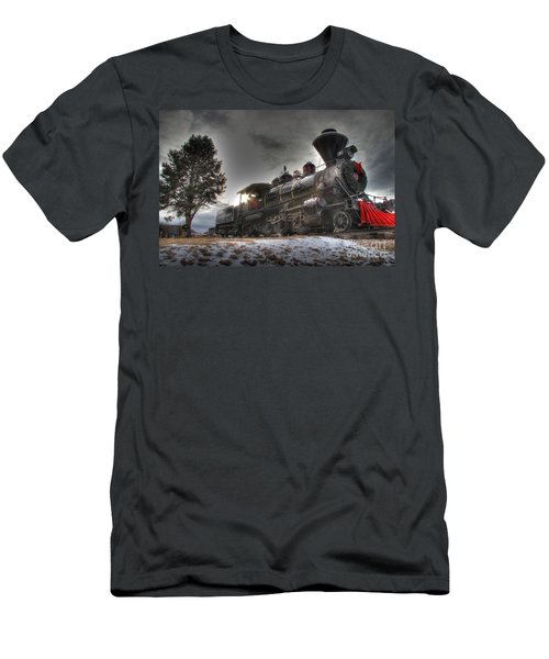 Men's T-Shirt (Slim Fit) featuring the photograph 1880 Train by Bill Gabbert