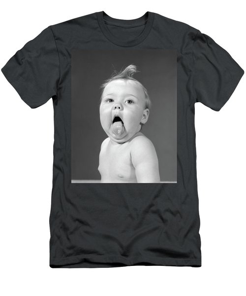 1960s Baby With Curl On Top Of Head Men's T-Shirt (Athletic Fit)