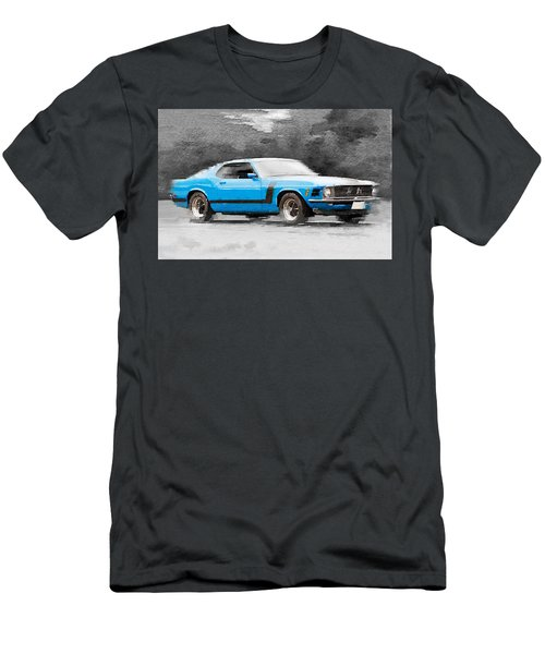 1970 Ford Mustang Boss Blue Watercolor Men's T-Shirt (Athletic Fit)