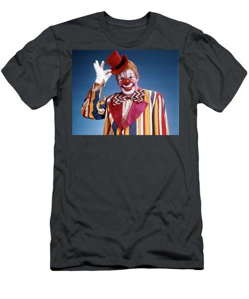 1970s Portrait Of Clown In Striped Men's T-Shirt (Athletic Fit)