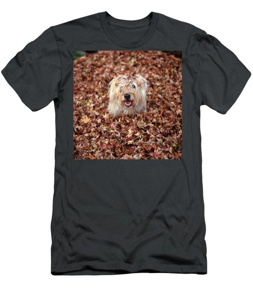 1990s Dog Covered In Leaves Men's T-Shirt (Athletic Fit)