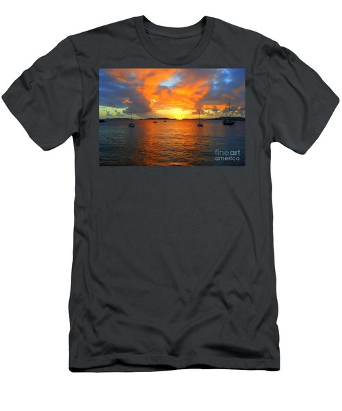 Frank Bay St. John U. S. Virgin Islands Sunset Men's T-Shirt (Slim Fit) by Catherine Sherman